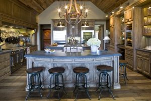 rustic custom kitchen cabinets and island
